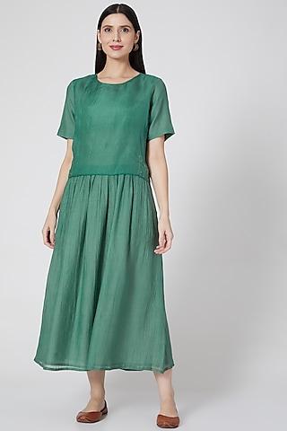 Emerald Green Cotton Dress by YAVI