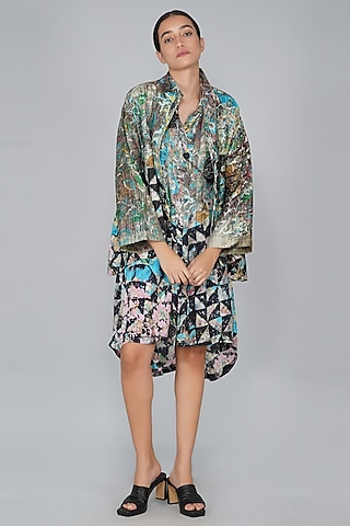 Green Silk Printed Jacket by YAVI