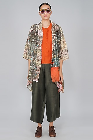 Orange & Grey Printed Jacket by YAVI