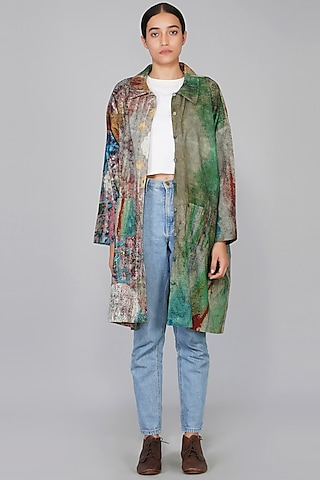 Green & Blue Printed Jacket by YAVI