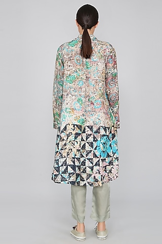 Grey Linen Printed Jacket by YAVI