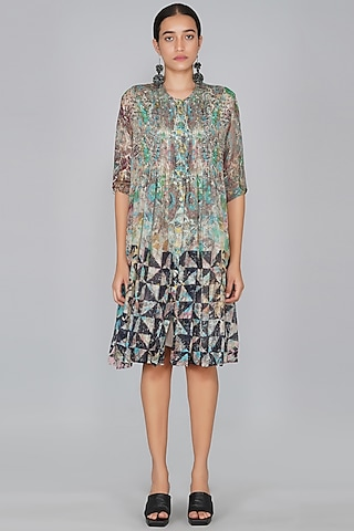 Grey Chanderi Printed Dress by YAVI