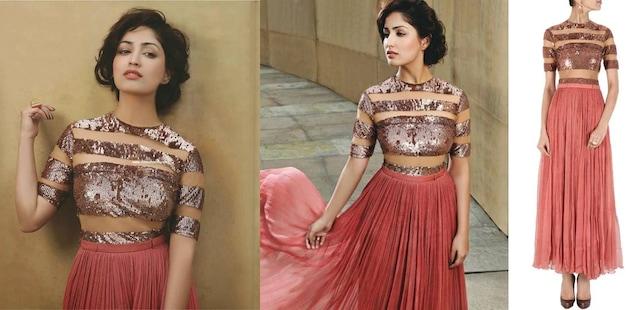 Rose gold sequin sheer panel long dress by Sailex