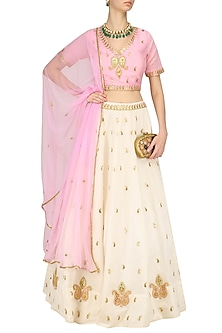 White Gota Patti Embroidered Lehenga and Pink Blouse Set by Surendri by Yogesh Chaudhary