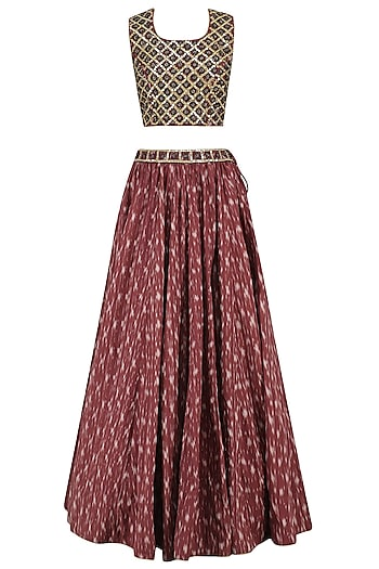 Rust Ikkat Print Skirt and Indigo Embroidered Crop Top Set by Surendri by Yogesh Chaudhary