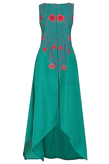Turquoise Blue Floral Embroidered Asymmetrical Tunic by Surendri by Yogesh Chaudhary