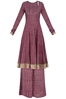 Maroon Anarkali Kurta and Sharara Pants Set. by Surendri by Yogesh Chaudhary