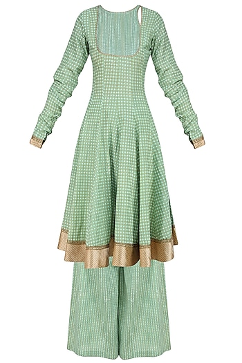 Green Chanderi Anarkali Kurta and Sharara Pants Set by Surendri by Yogesh Chaudhary
