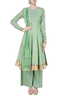 Green Chanderi Anarkali Kurta and Sharara Pants Set by Surendri by Yogesh Chaudhary