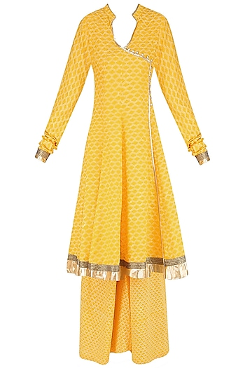 Yellow Angrakha Style Anarkali Kurta and Sharara Pants Set by Surendri by Yogesh Chaudhary