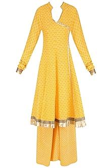 Yellow Angrakha Style Anarkali Kurta and Sharara Pants Set by Surendri by Yogesh Chaudhary