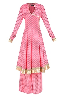 Pink Angrakha Style Anarkali Kurta and Sharara Pants Set by Surendri by Yogesh Chaudhary