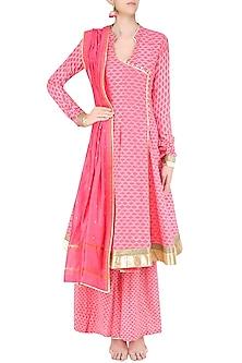 Pink Angrakha Style Anarkali Kurta and Sharara Pants Set by Surendri by Yogesh Chaudhary