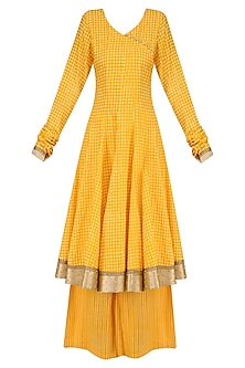 Yellow Printed Anarakali Kurta and Sharara Pants Set  by Surendri by Yogesh Chaudhary
