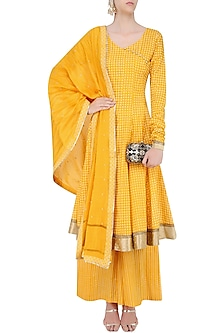 Yellow Printed Anarakali Kurta and Sharara Pants Set  by Surendri by Yogesh Chaudhary