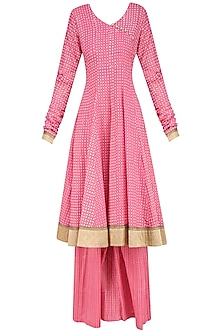 Pink Printed Anarakali Kurta and Sharara Pants Set  by Surendri by Yogesh Chaudhary