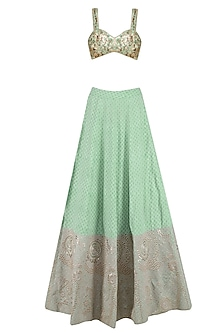 Green and Gold Hand Embroidered Lehenga and Blouse Set by Surendri by Yogesh Chaudhary