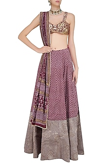 Maroon and Gold Hand Embroidered Lehenga and Blouse Set by Surendri by Yogesh Chaudhary