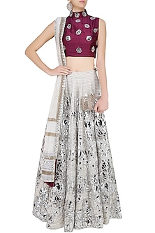 Off White and Silver Floral Foil Work Lehenga and Maroon Blouse Set by Surendri by Yogesh Chaudhary