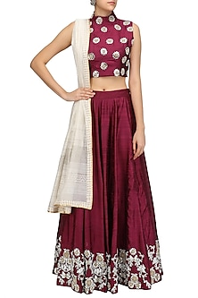 Wine Embroidered Lehenga and Off Shoulder Blouse Set by Surendri by Yogesh Chaudhary