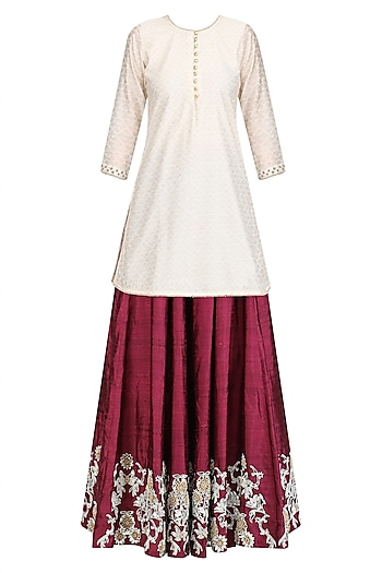 Wine Dot Embroidered Lehenga with Off White Kurta and Dupatta by Surendri by Yogesh Chaudhary