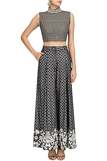 Black Foil Work Printed Flared Pants and Crop Top Set by Surendri by Yogesh Chaudhary
