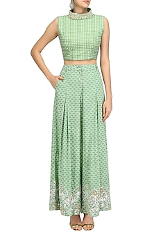 Green Foil Work Printed Flared Pants and Crop Top Set by Surendri by Yogesh Chaudhary