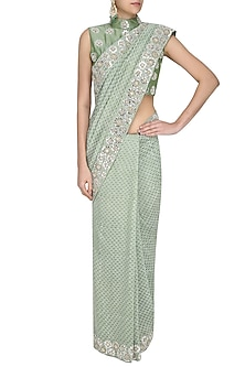 Green Printed Foil Work Saree with Embroidered Blouse by Surendri by Yogesh Chaudhary