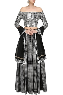 Black Printed Skirt and Off Shoulder Blouse Set by Surendri by Yogesh Chaudhary
