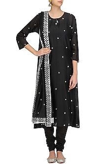 Black Dots Embroidered Straight Kurta Set by Surendri by Yogesh Chaudhary