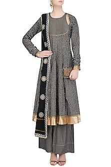 Black Printed Anarkali Kurta and Sharara Pants Set by Surendri by Yogesh Chaudhary