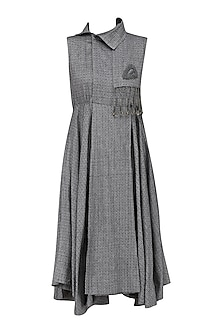 Grey Wrap Around Dress by Surendri by Yogesh Chaudhary