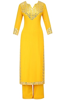Yellow Embroidered Kurta with Palazzo Pants by Surendri by Yogesh Chaudhary