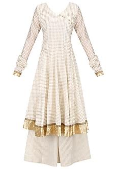 White Angrakha Style Anarkali Kurta and Sharara Pants Set by Surendri by Yogesh Chaudhary