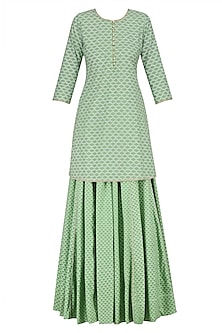 Green Pearl Embroidered Short Kurta and Skirt Set by Surendri by Yogesh Chaudhary