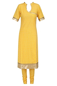 Yellow Printed Straight Suit Set with Chanderi Dupatta by Surendri by Yogesh Chaudhary