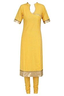 Yellow Printed Straight Suit Set with Chanderi Dupatta by Surendri by Yogesh Chaudhary