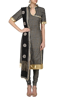 Black Printed Straight Suit Set with Chanderi Dupatta by Surendri by Yogesh Chaudhary