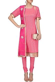 Pink Printed Straight Suit Set with Chanderi Dupatta by Surendri by Yogesh Chaudhary