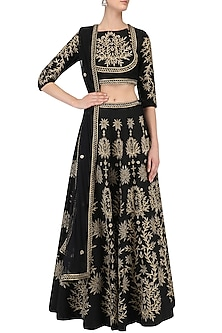 Black Zari Leaves Embroidered Lehenga and Blouse Set by Surendri by Yogesh Chaudhary