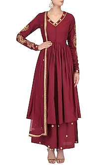 Maroon Zari Leaves Embroidered Anarkali with Palazzo Pants by Surendri by Yogesh Chaudhary