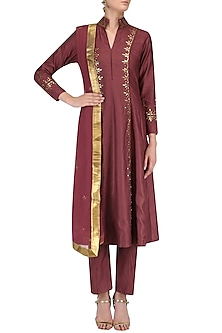 Wine Zari Embroidered Kurta and Pants Set by Surendri by Yogesh Chaudhary