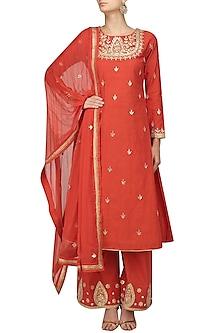 Red Gota Patti Embroidered Kurta and Sharara Pants Set by Surendri by Yogesh Chaudhary