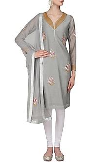 Grey Gota Patti Leaves Embroidered Kurta Set by Surendri by Yogesh Chaudhary