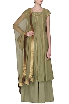 Golden Asymmetrical Kurta and Palazzo Pants Set by Surendri by Yogesh Chaudhary