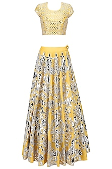 Yellow Foil Floral and Dot Work Lehenga Set by Surendri by Yogesh Chaudhary