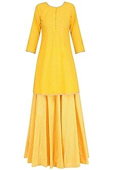 Yellow Pearl Embroidered Short Kurta and Skirt Set by Surendri by Yogesh Chaudhary