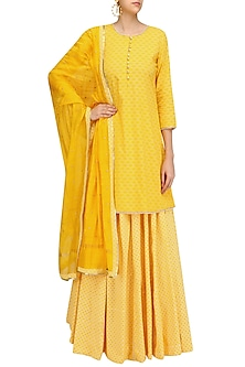 Yellow Pearl Embroidered Short Kurta and Skirt Set by Surendri by Yogesh Chaudhary