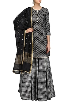 Black Pearl Embroidered Short Kurta and Skirt Set by Surendri by Yogesh Chaudhary