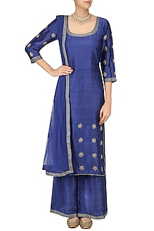 Ink Blue Foil Dot Work Kurta Set by Surendri by Yogesh Chaudhary